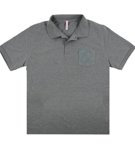 SUN68 Polo Pocket Print Grigio Medio