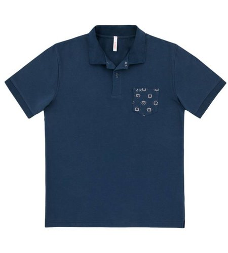 SUN68 Polo Pocket Print Navy Blue