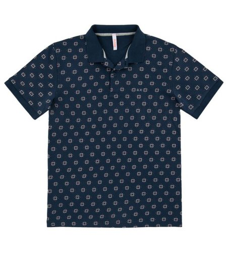 SUN68 Polo Etnic Navy Blue