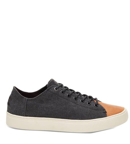Toms Lenox Sneaker Leather Toe Black Washed Canvas