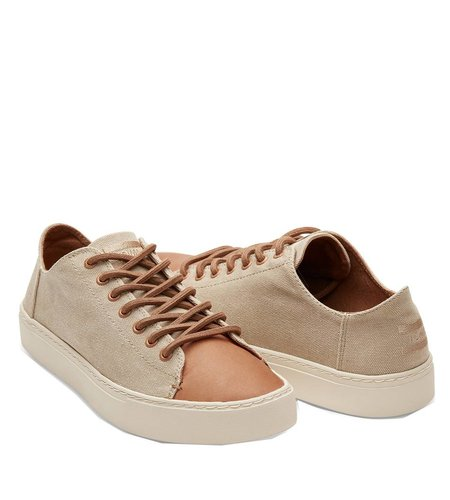 Toms Lenox Sneaker Leather Toe Taupe Washed Canvas