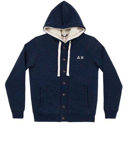 SUN68 Hood Jacket Double Cotton Navy Blue