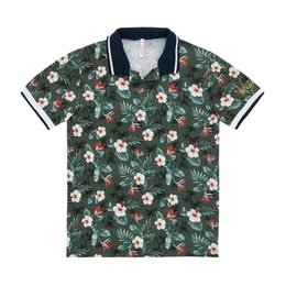 SUN68 Polo Multicolor Hawaii Print