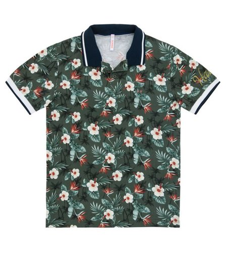 SUN68 Polo Multicolor Hawaii Print Militare