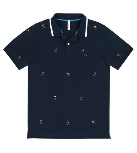 SUN68 Polo Full Embrodery Navy Blue