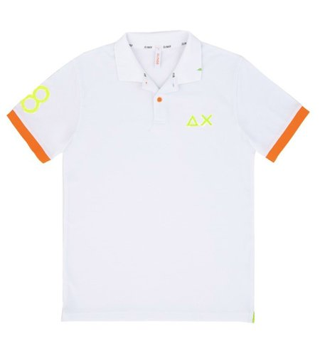 SUN68 Polo Patch Fluo Bianco