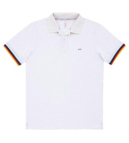 SUN68 Polo Rib Stripes Bianco