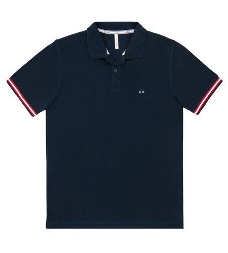 SUN68 Polo Rib Stripes Navy Blue