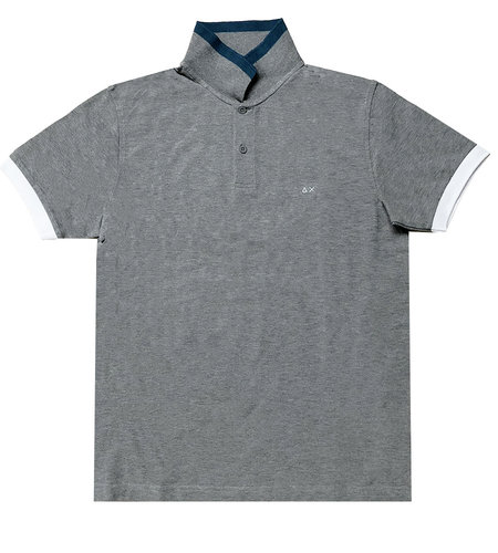 SUN68 Polo Big Stripes Collar Grigio Medio