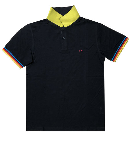 SUN68 Polo Rib Stripes Nero