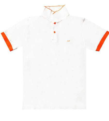 SUN68 Polo Small Stripes Fluo Bianco