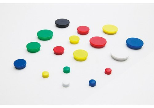 Ronde memo magneten 6 kleuren, 4 diameters  per 10 stuks