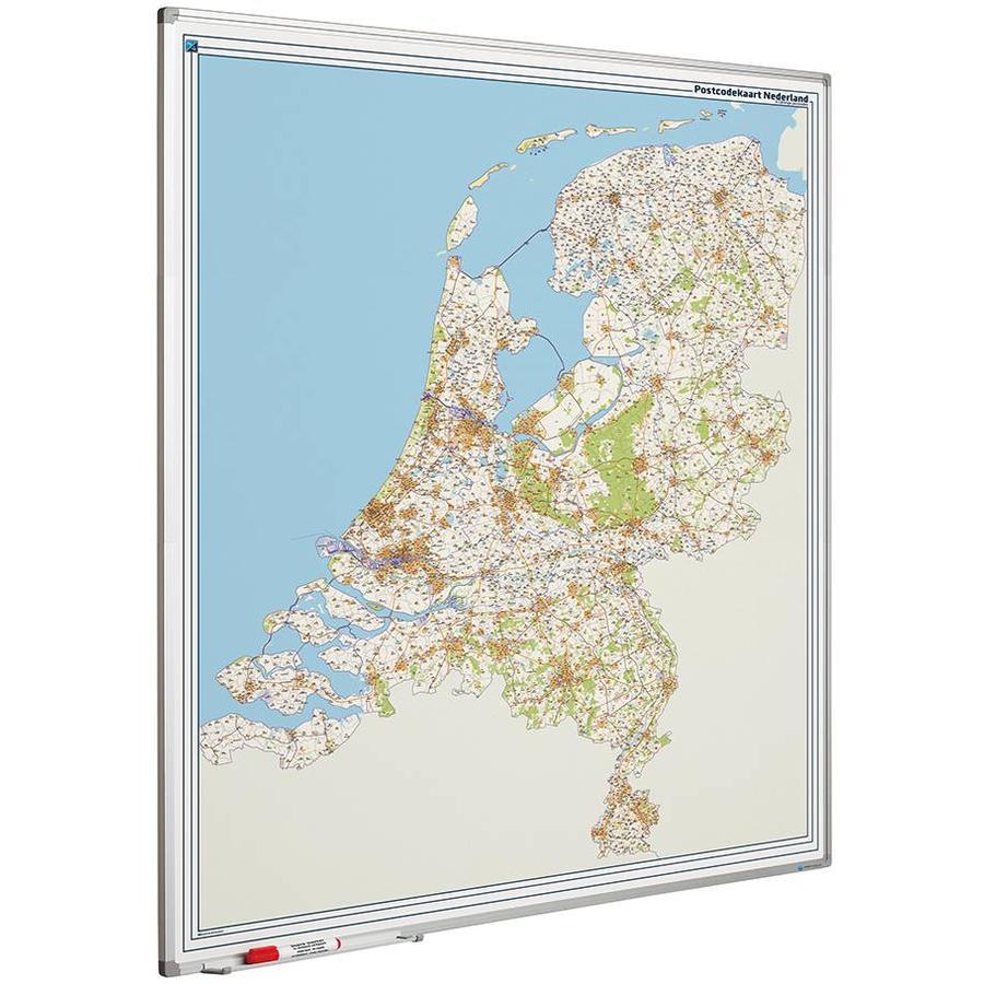 Postcodekaart Nederland met Softline profiel 130 x 110 cm.-1