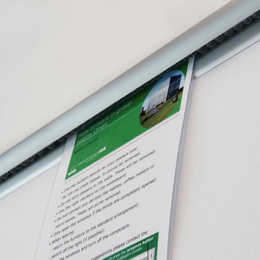 Knikkerrail alu kleurig, voor bevestiging papier-1