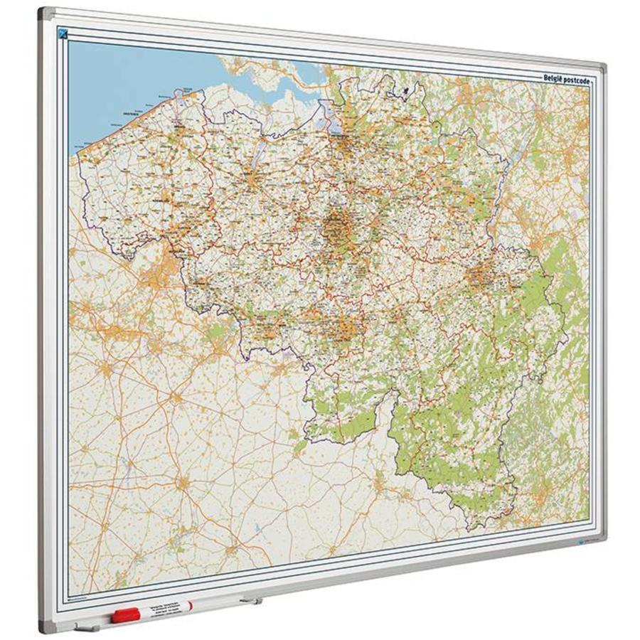 Postcodekaart van België op whiteboard-1