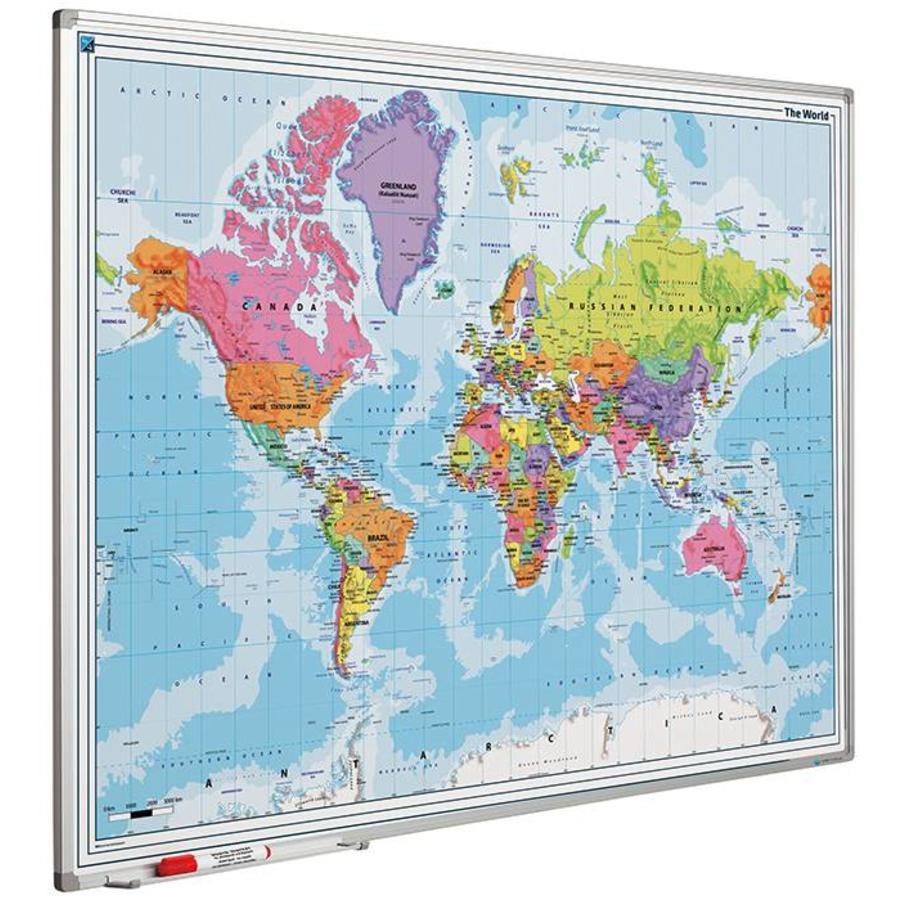 Wereldkaart met Softline profiel 120 x 90 cm.-1