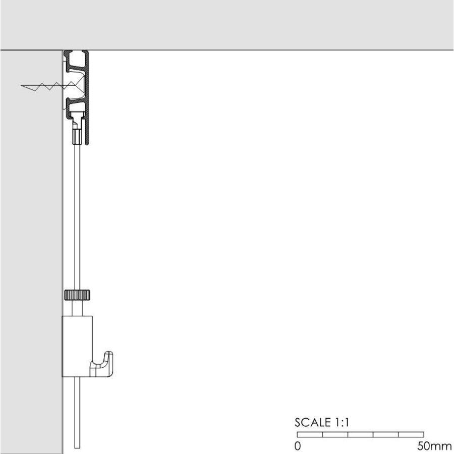 Artiteq Click Rail Pro.  Zwaarder uitgevoerd schilderij ophangsysteem, belastbaar tot 50 kg. /m. Kleur RAL 9016 overschilderbaar-2