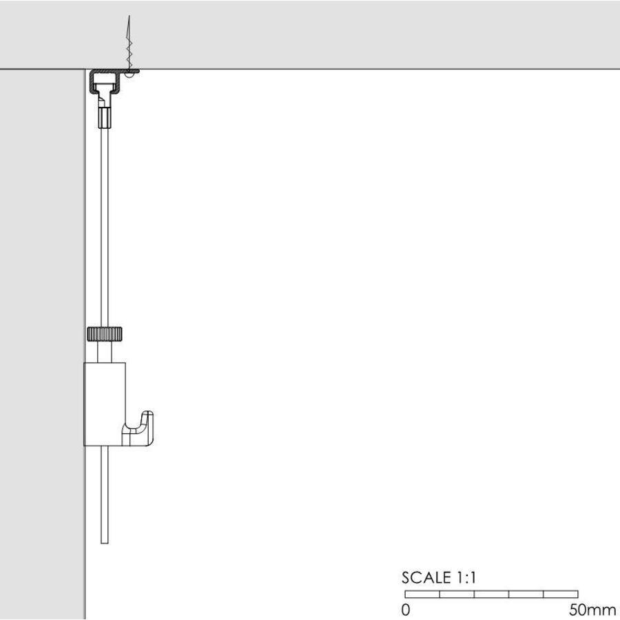 Artiteq Top Rail.  Schilderij ophangsysteem voor montage aan de kantlat van een systeemplafond. zwart geanodiseerd-2