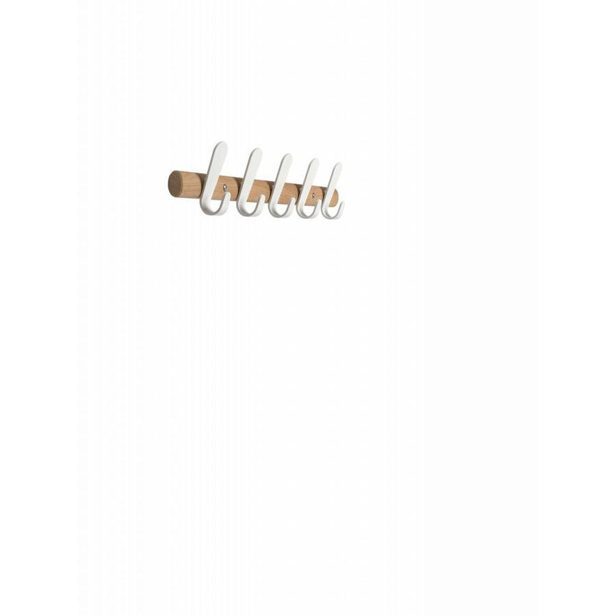 Wandkapstok Sticks HJH eikenhout met witte haken-4