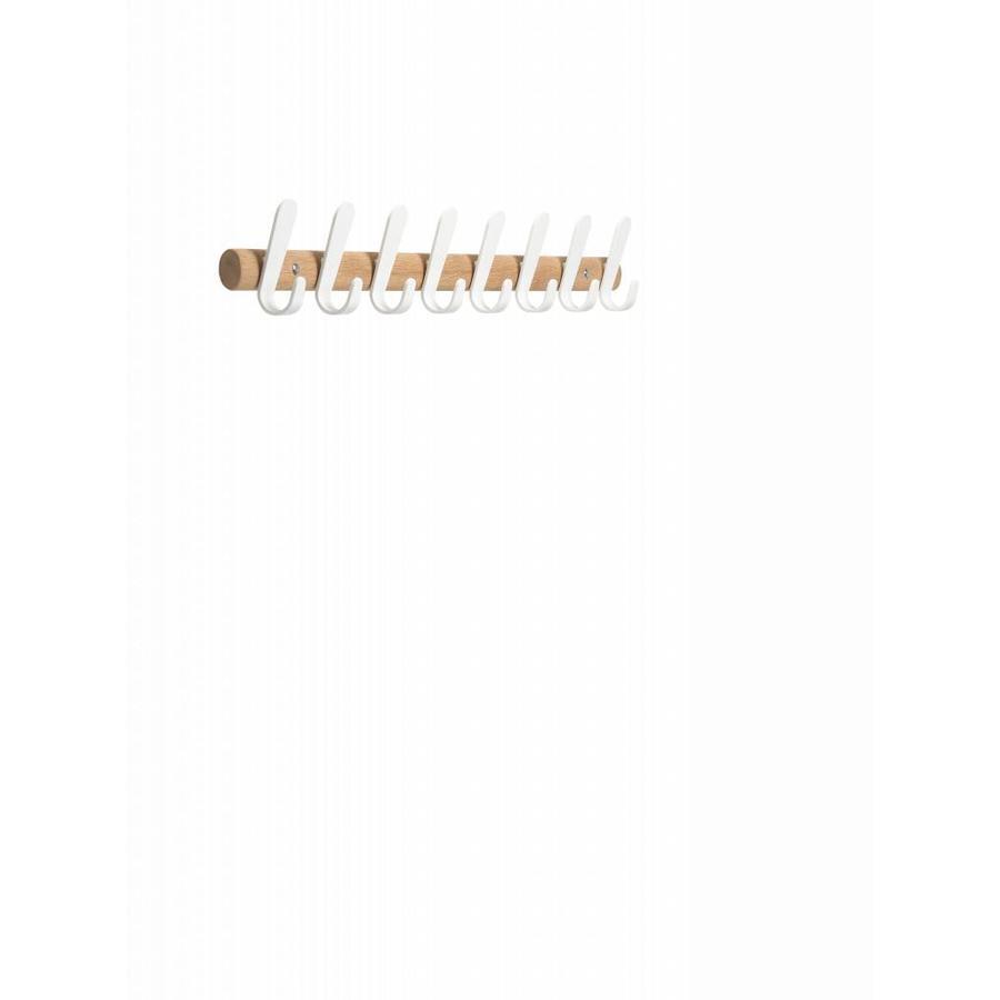 Wandkapstok Sticks HJH eikenhout met witte haken-5