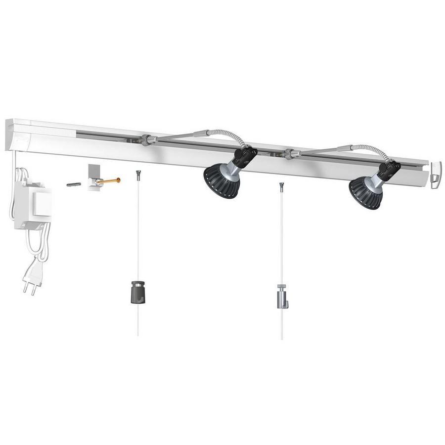 Artiteq Combi Rail Pro Light, schilderij ophangsysteem met LED spotjes. Compleet set met 2 meter rail, RAL 9010, en 2 spotjes, simpel af te korten.-1