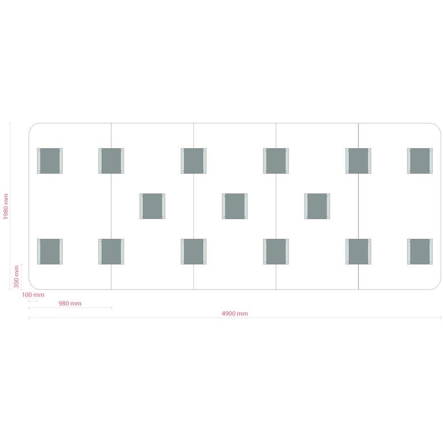 Whiteboard wand met afgeronde hoeken 198x392 cm.-7
