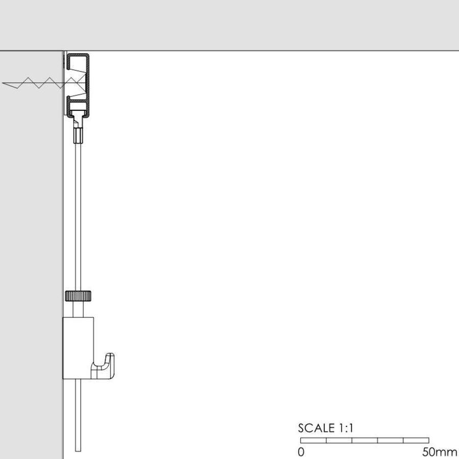 Artiteq Click Rail wit, RAL 9010.  Schilderij ophangsysteem voor bevestiging aan de wand met de makkelijke Click&Connect clips.-5