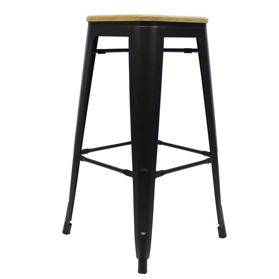 Tolix Bar Stool Black Wooden seat