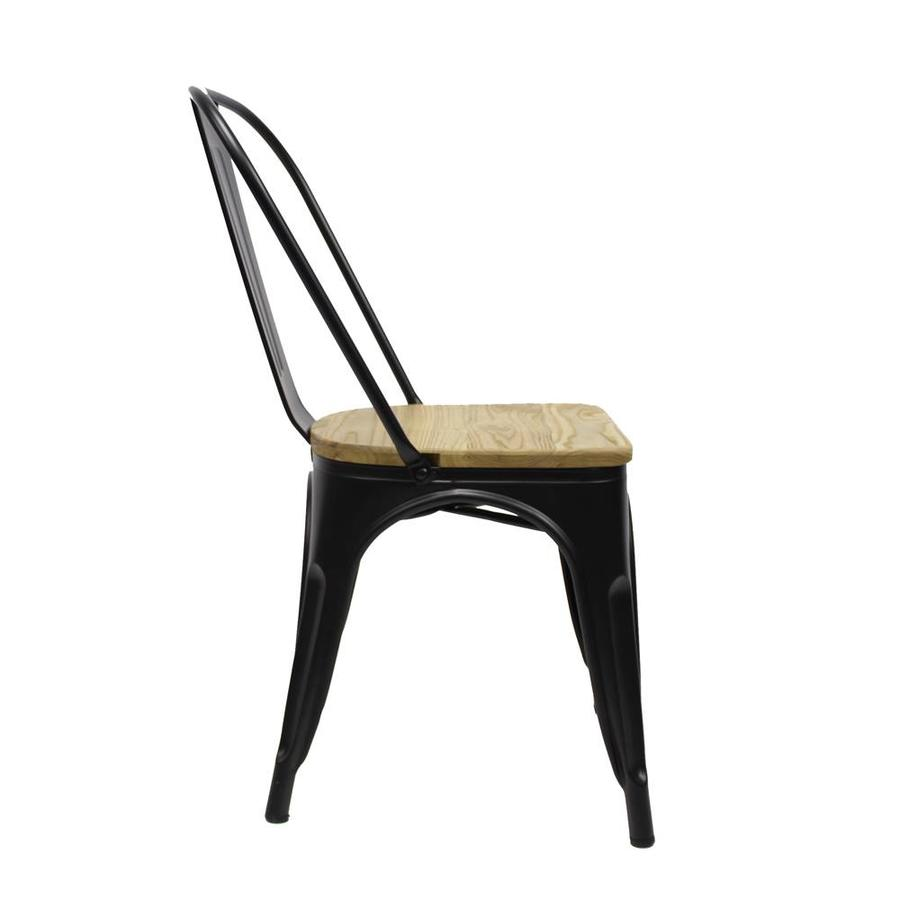 Tolix chair Black Wooden seat