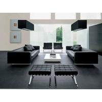 Barcelona Ottoman Black - Premium Leather