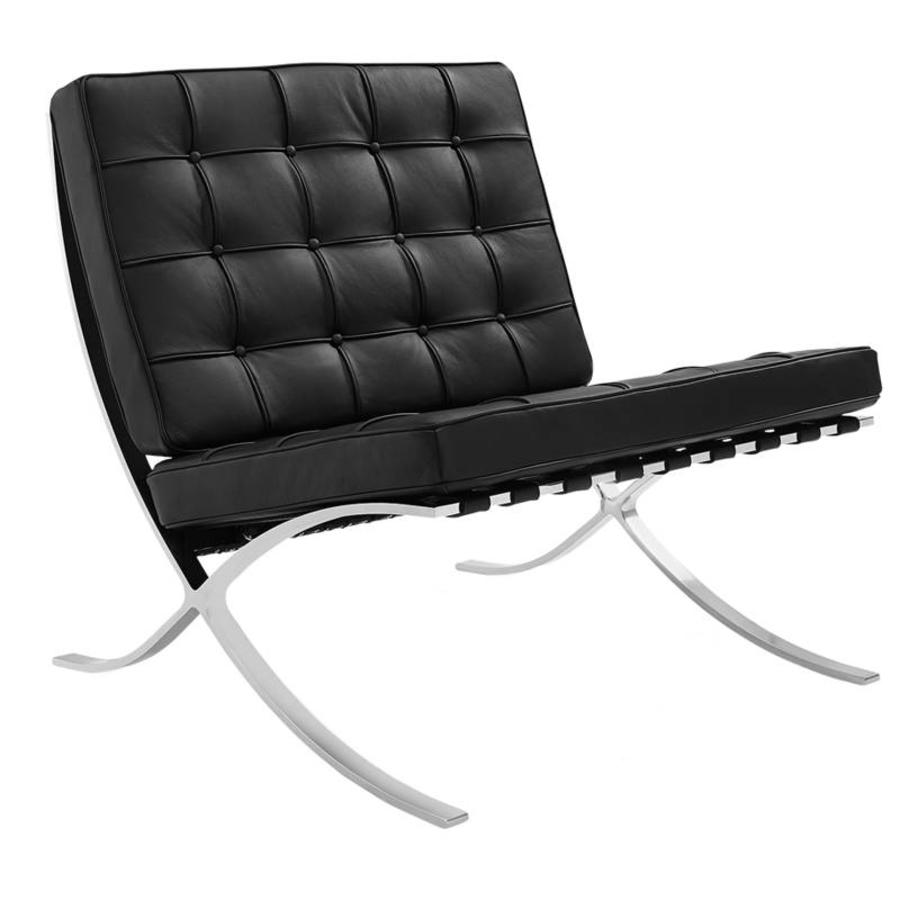 Barcelona Chair Black Premium Leather - Shipped within 24 hours! - Furnwise