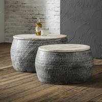 Coffee Table Ø50cm/Ø60cm wood 2-set