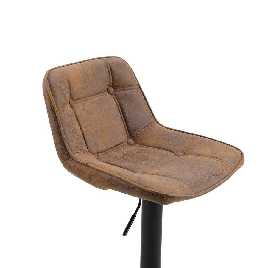 Industrial Bar Stool Ezra Cognac Brown microfiber