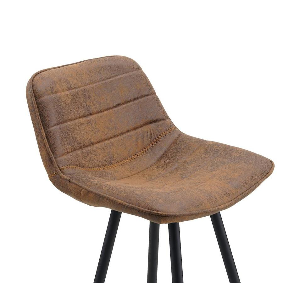 Industrial Bar Stool Jordan Cognac Brown Microfiber