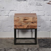 Mill Bedside Table 1d - Acacia wood
