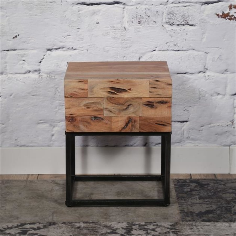 Bedside Table 1d Mill Acacia wood