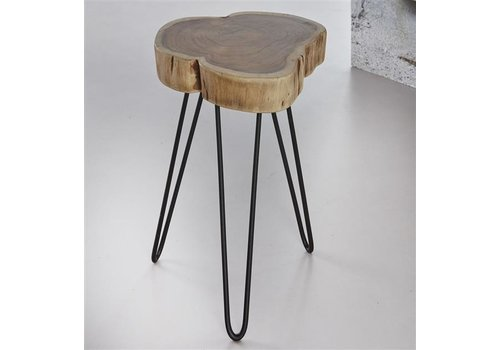 Side Table Log Solid Acacia Wood