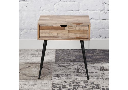Industrial Bedside table Teca Solid teak wood