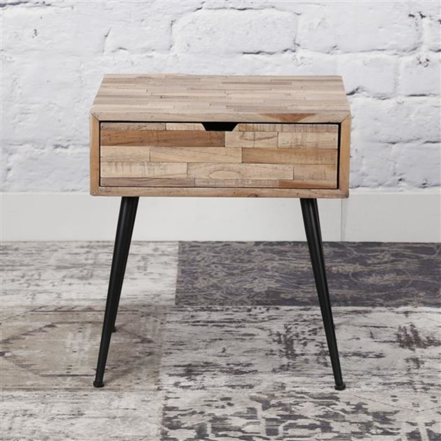 Bedside table Teca Solid teak wood