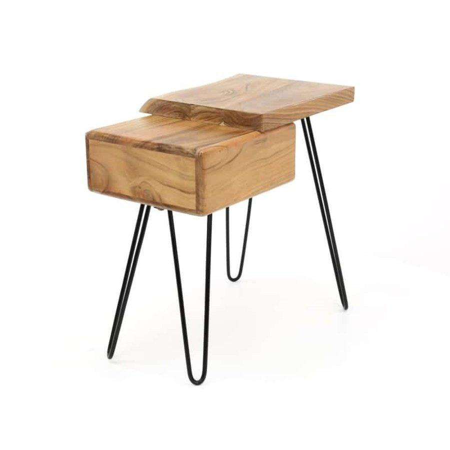 Edge L Bedside table - Solid Acacia wood