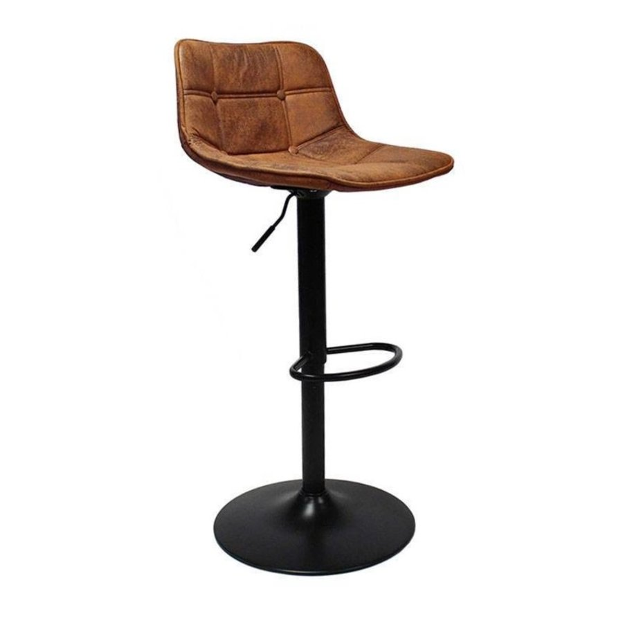Industrial Bar Stool Rocky Cognac Leather