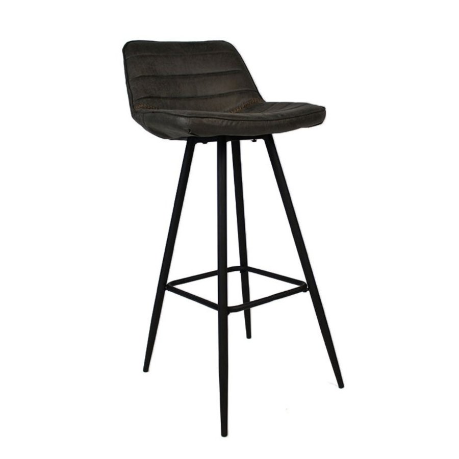 Industrial Bar Stool Jackson Anthracite Leather