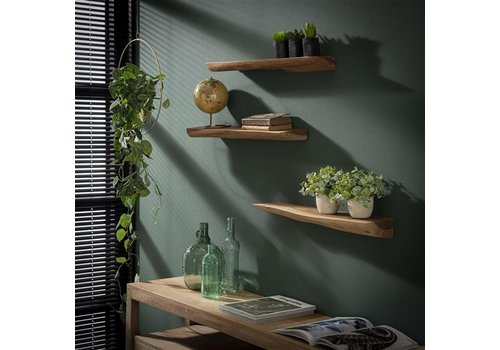 Wall shelf Edge (set of 3)  Acacia wood