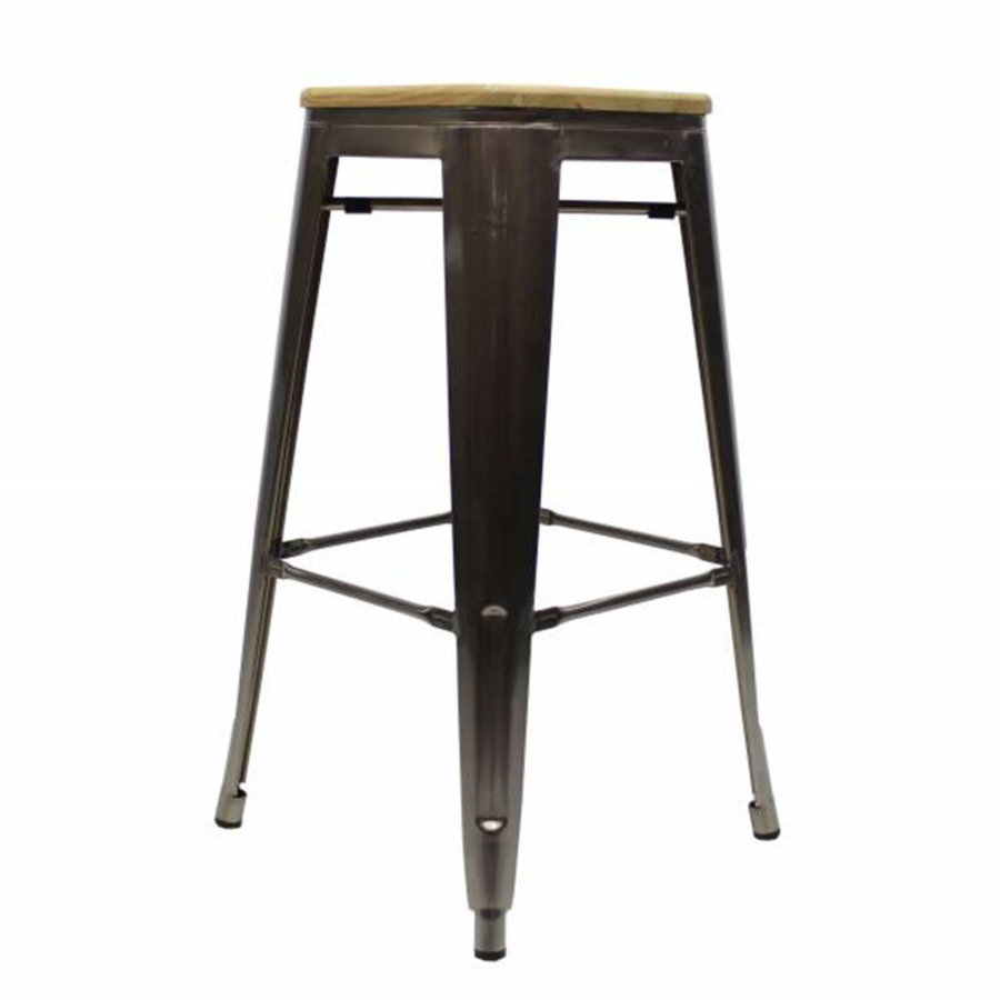 Tolix Bar Stool Metal Wooden seat