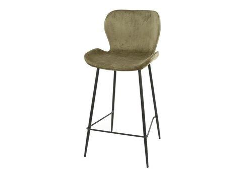 Velvet bar stool Golf Champagne