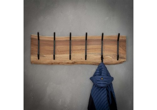 Wooden coat rack Tommy 2x6 hooks