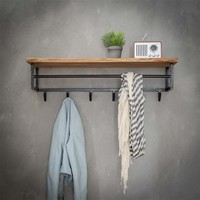 Wooden coat rack Tommy wall shelf with 6 hooks