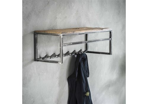 Hardwood coat rack Arthur wall shelf 7 hooks