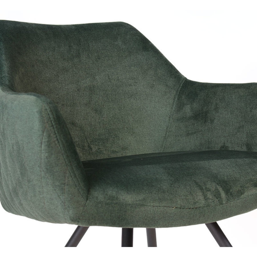 Velvet dining chair Nelly Green with arm