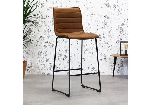 Industrial Bar Stool Ryan Cognac PU